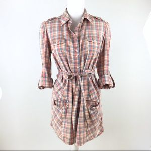Zara plaid belted boho tunic top dress button down